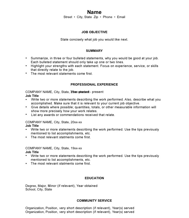 Chronological Resumes Sample Templates And Examples   Chronological Resume  Templates Free