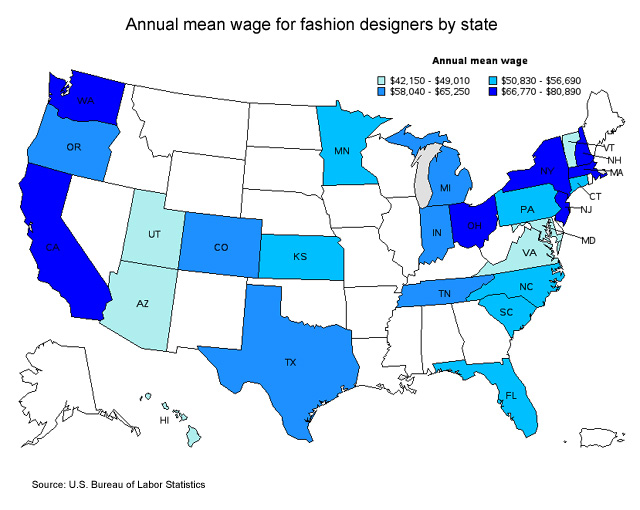 Average Salary Of Clothing Designer mean wage for fashion