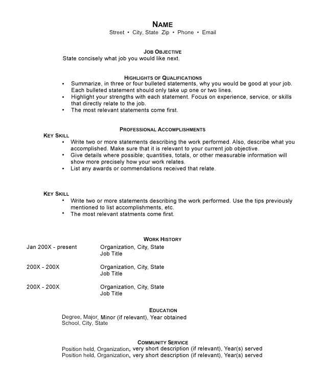 template for functional resumes