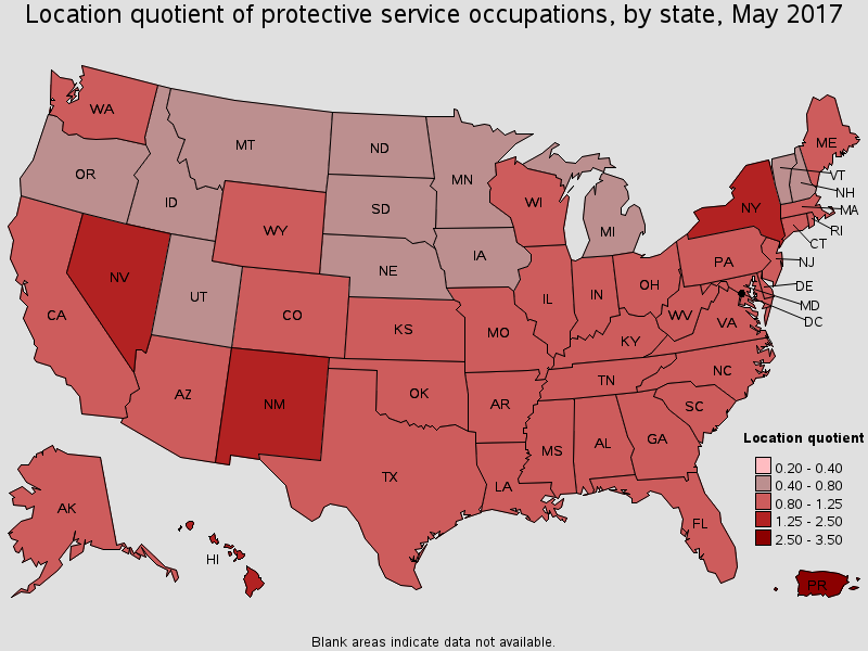 The States That Have Highest Location Quotient And Concentration Of Protective Services Jobs In 2019 Are Listed Following Table